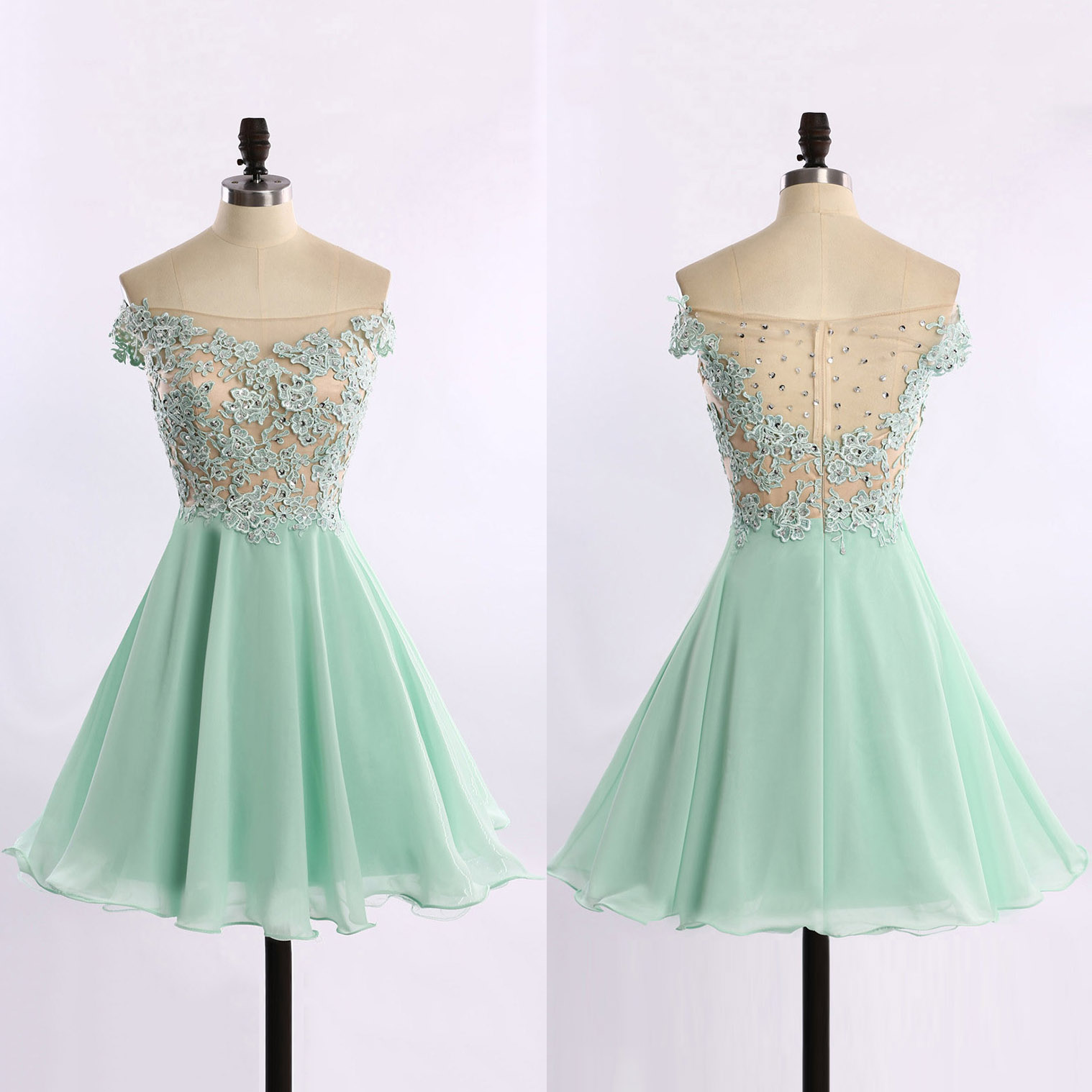 532b899d4801 Off-the-shoulder Chiffon Prom Dresses with Lace Appliques, See-through Tulle