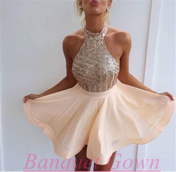 Cute Homecoming Dresses,High Neck Prom Dress,Short Prom Dress,Sequin ...
