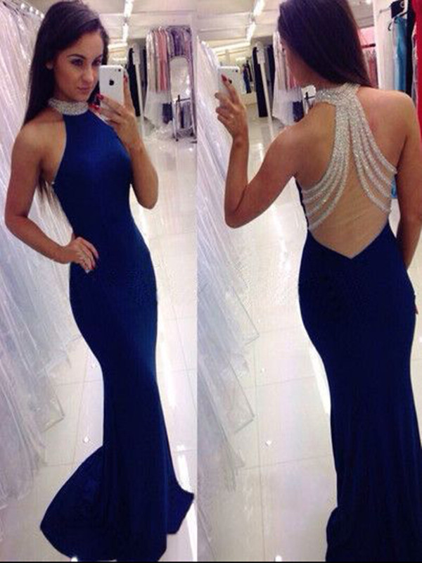 Custom Made High Neck Sleeveless Blue Mermaid Prom Dress, Blue ...