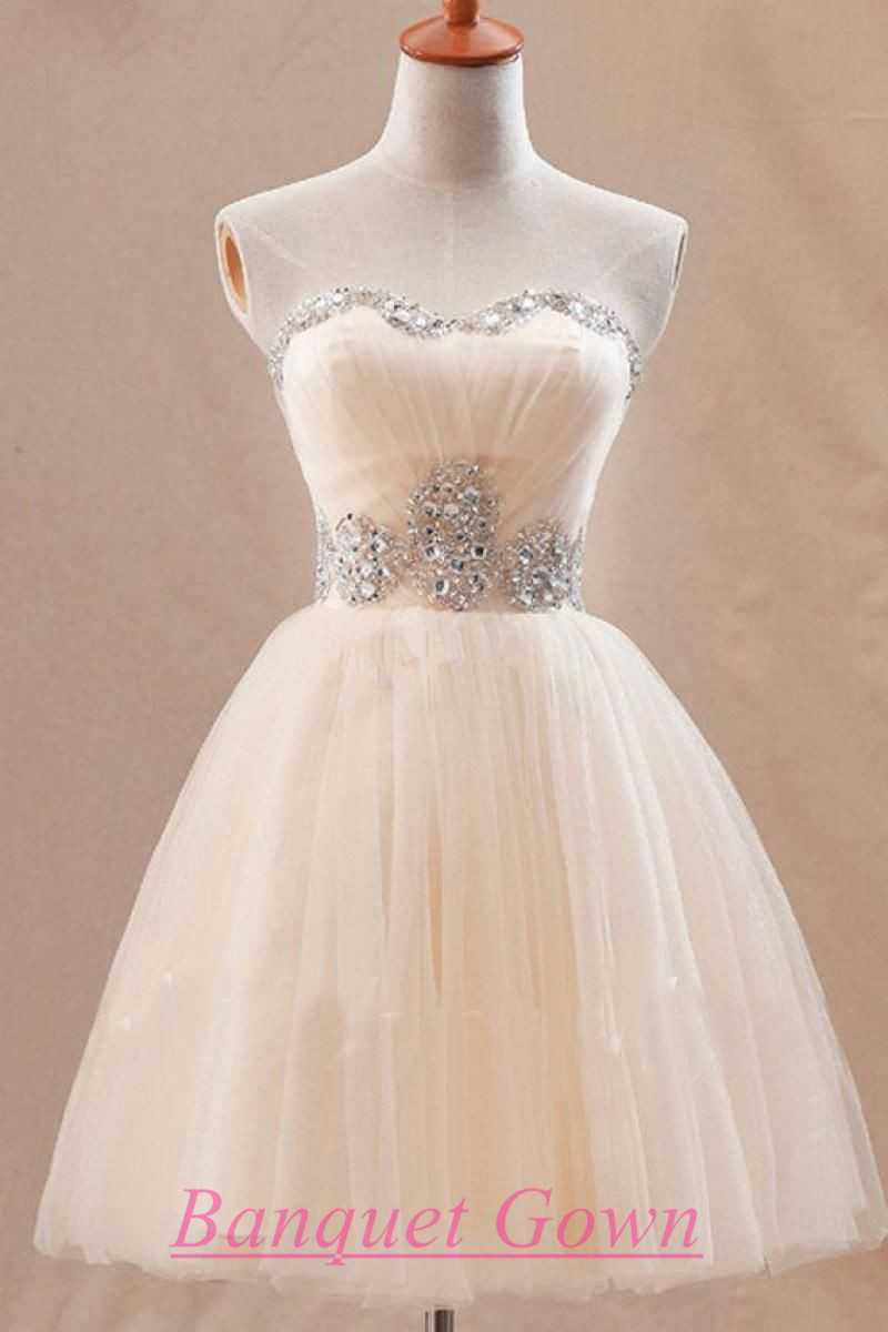 27a357c968d Cute Sweetheart Short Tulle Homecoming Dress With Crystals Ivory prom  Dresses