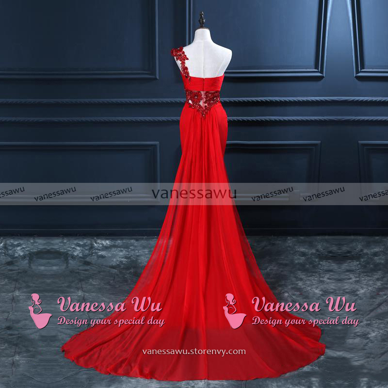 One Shoulder Prom Dress with Beaded Flowers, Unique Red Prom Gowns ...