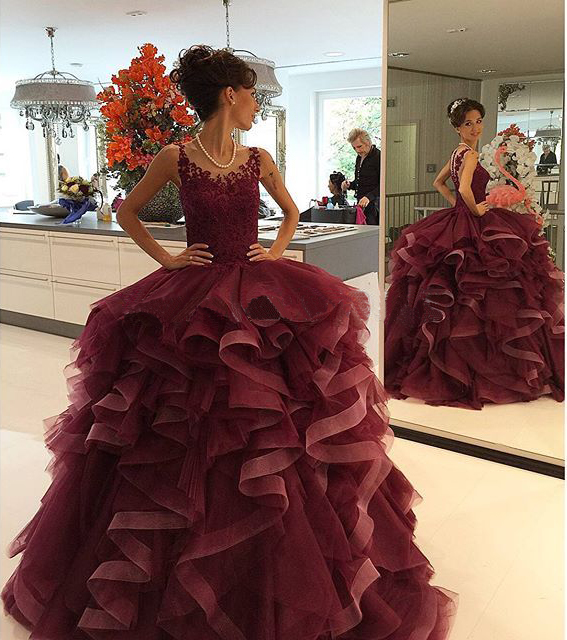 LE91 Ball Gown Tank Lace Top Appliques Ruffles Burgundy Tulle Long ...