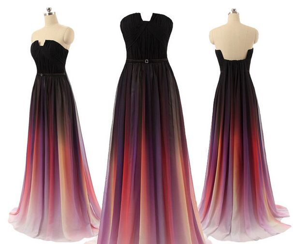 Top Selling Long Prom Dressescharming Black Navy Blue Red Gradient