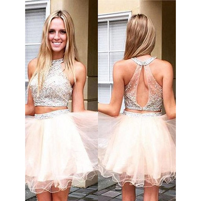 42280a71f9fb Crop Top Prom Dress with Illusion beaded Bodice, Halter Prom Dresses with  Keyhole Back,