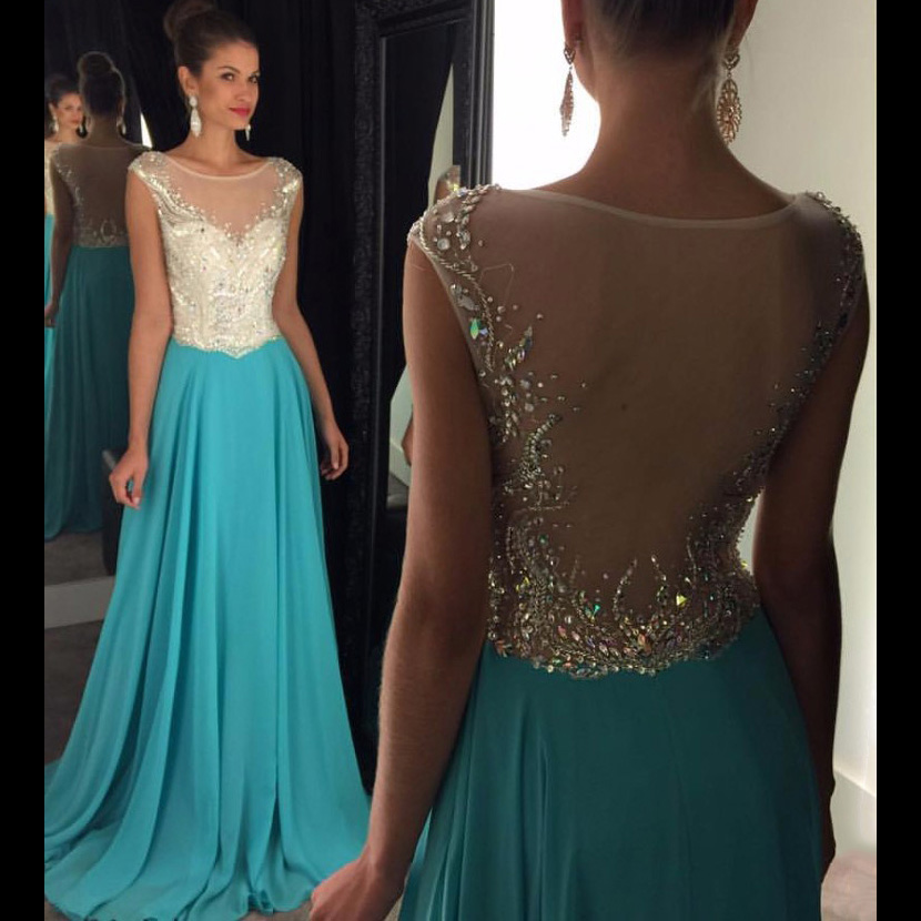 0aa8a514b3b77 Cap Sleeve Long Prom Dresses, A-line Illusion Beaded Prom Dress with Sweep  Train