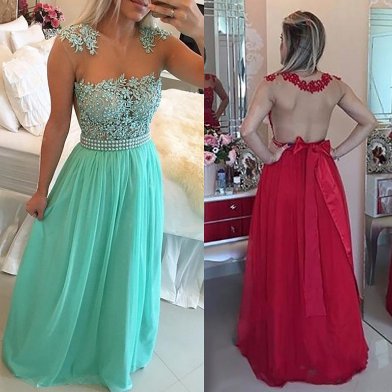 392bd2ce43ca Exclusive Long Prom Dress with Beaded Belt, A-line Mint Chiffon Prom Dress  with
