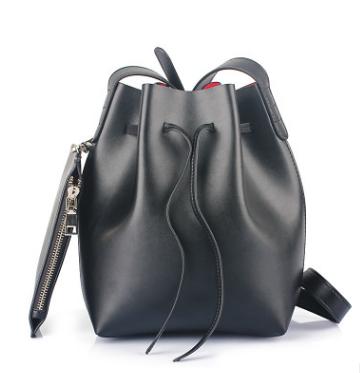 449b17b4345e Black Leather Bucket Bag