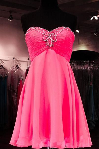 bcf14726045 Strapless Hot pink Short Homecoming Dresses