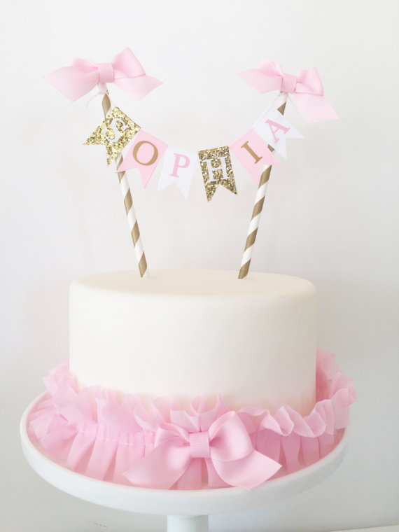 Pink And Gold Birthday Cake Topper Bunting Banner The Birthday