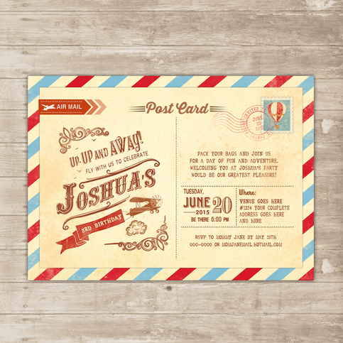 Vintage Travel Invitation Postcard Invite Up Up And Away