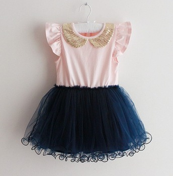 Dash Of Gold Girls Dress Navy Gold Sequin Collar And