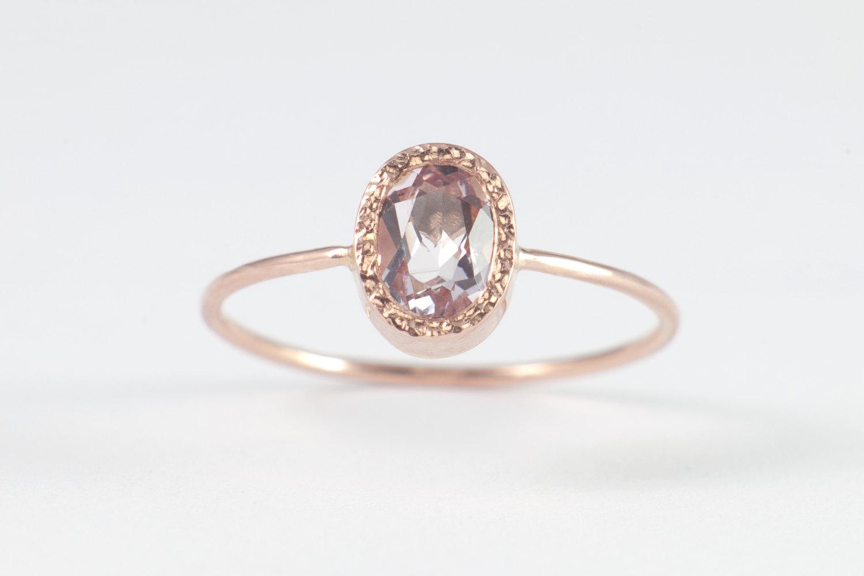 Peach Morganite Engagement Ring Rose Gold Morganite Ring Unique