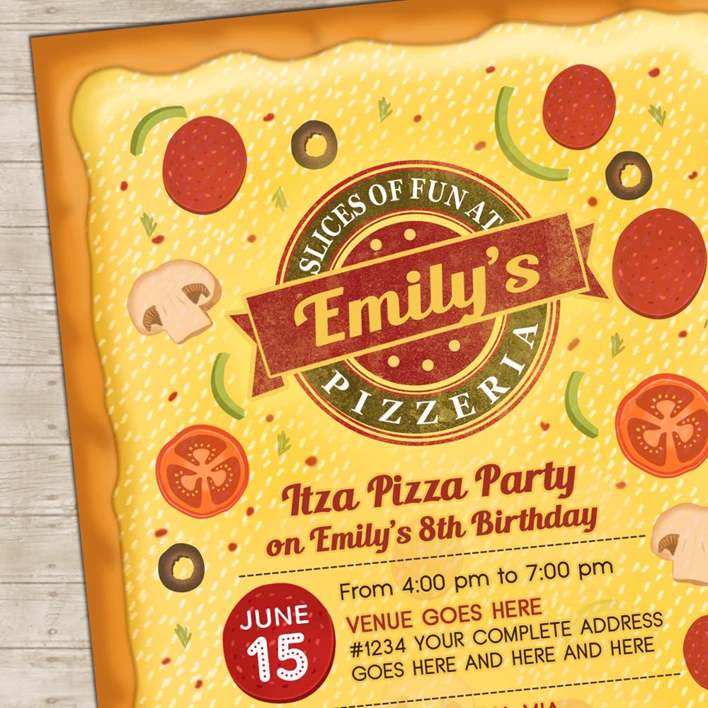 Pizza Party Invitation Pizzeria Invite Italian Toppings Invitations