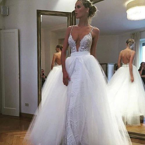 Wedding dresses,deep v-neck wedding dress,open back bridal gown,lace ...