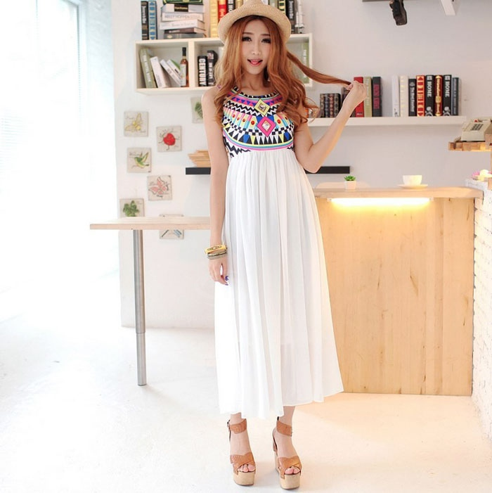 2b67e935160 Scoop Neck Bohemian Style Chiffon Maxi Dress  20.00