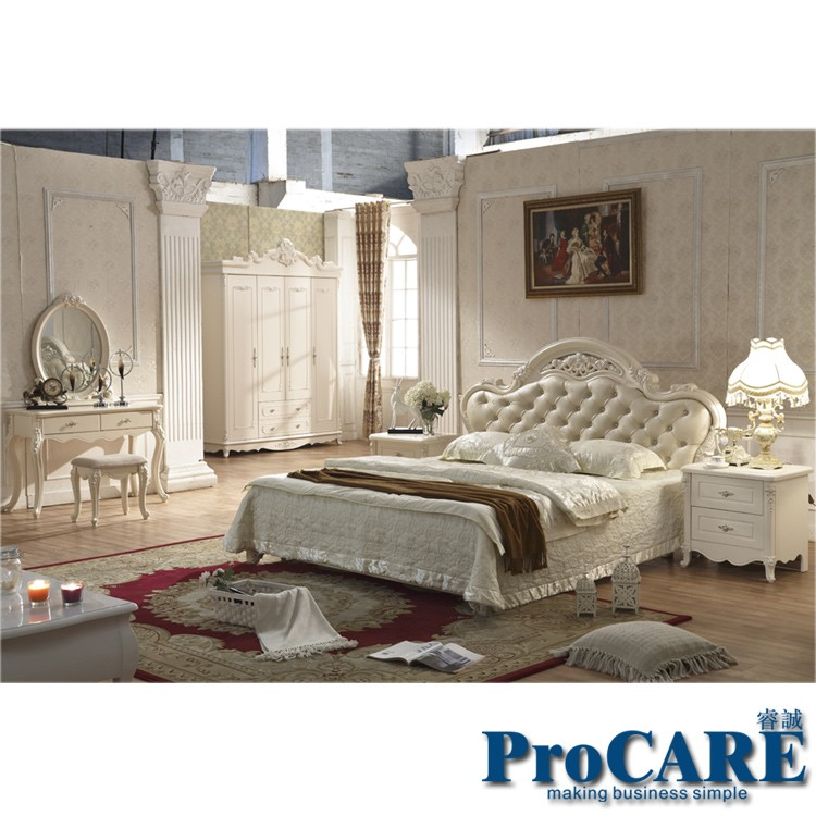 Five pieces white color Queen size solid wood hand-carved modern princess  bedroom furniture set sold by LightHouse27