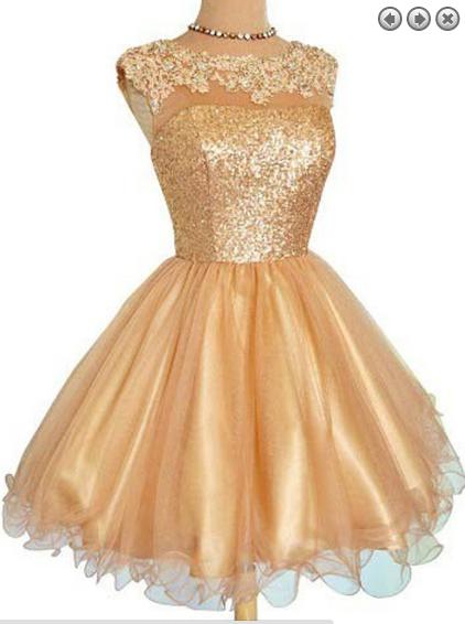 Gold Short Graduation Dresses