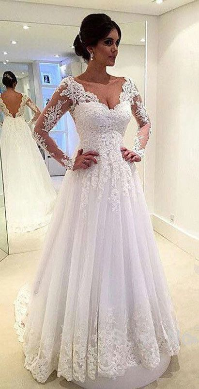 Wedding dresseslace bridal gownlong sleeve wedding dressesa line share on tumblr junglespirit