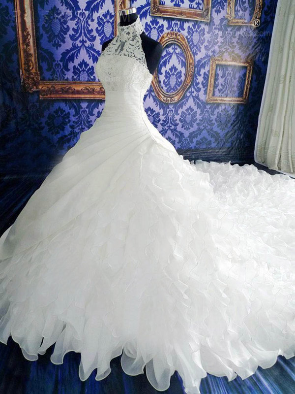 Long Wedding Dresshigh Neck Wedding Dresswhite Halter Wedding