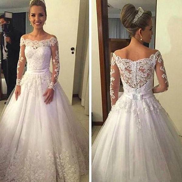 A-line Off shoulder wedding dress,long sleeves wedding dress,lace ...
