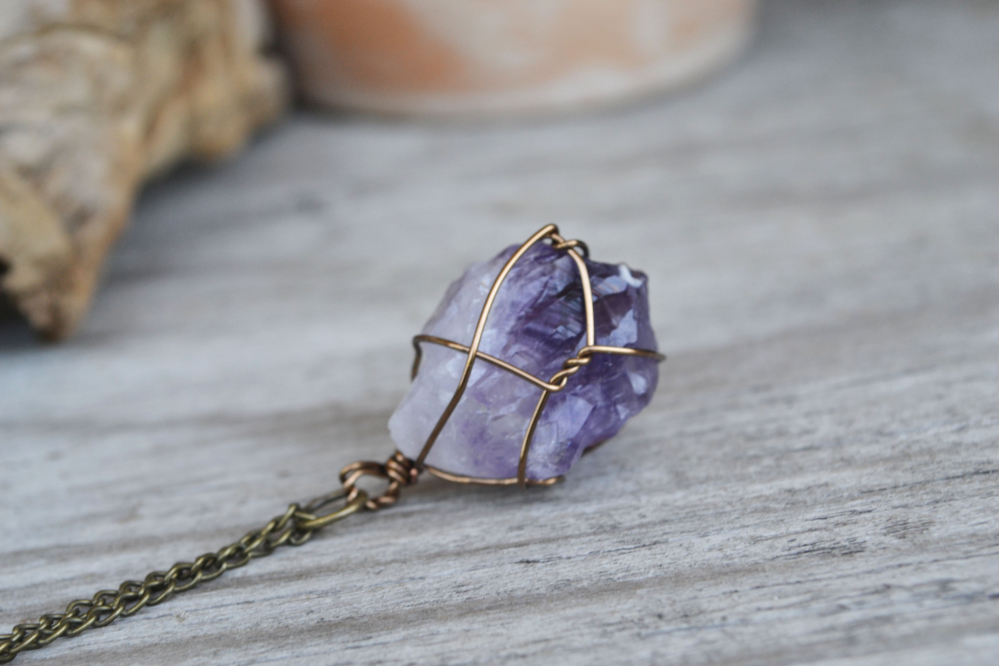 Amethyst Wire Wrapped Stone, Mineral Jewelry, Purple Stone Necklace ...