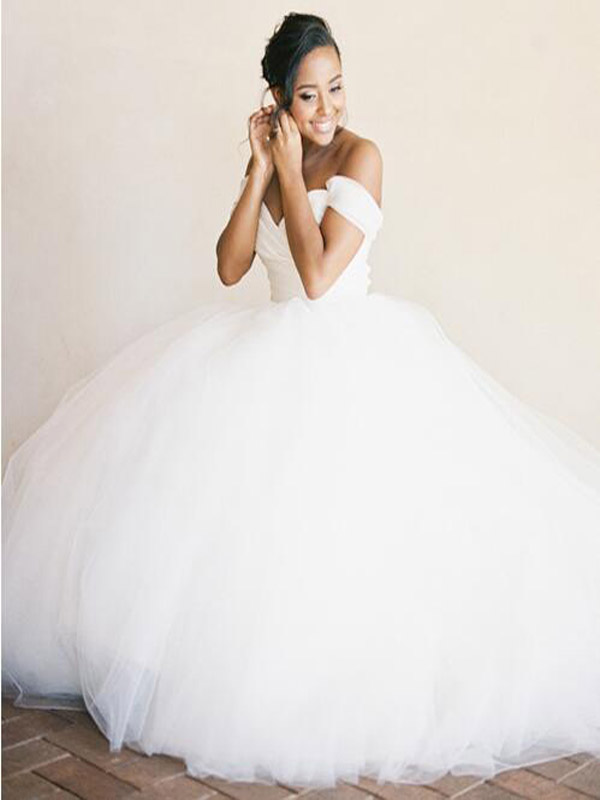 Off Shoulder Tulle wedding dress,white long wedding dress,princess ...