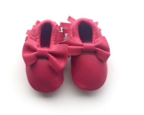 d115afbcacec7 Baby Moccasins - Hot Pink Leather with Bow from Blush + Willow