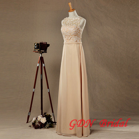 Champagne Underlay Wedding Dressbackless Chiffon Wedding Dress Lace Wedding Dresssleeveless Wedding Dress Sold By Gdn Bridal