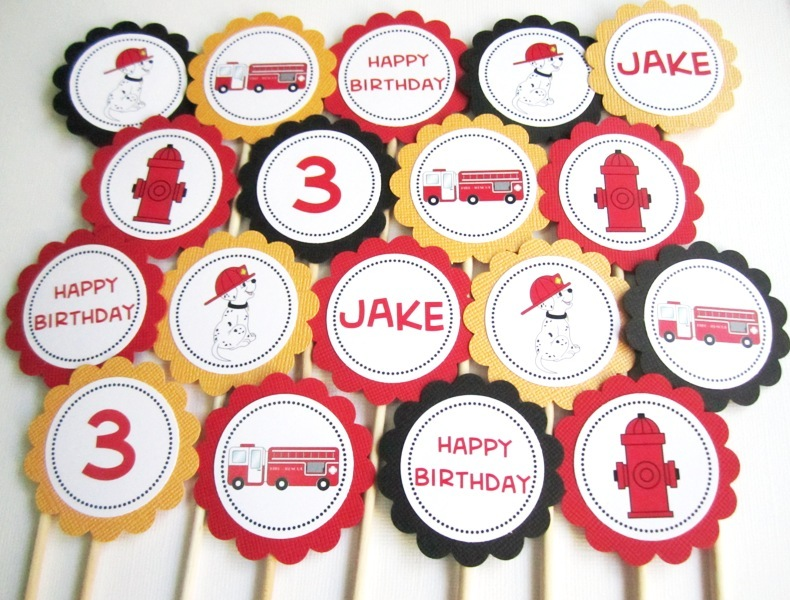 Dalmatian Fire Truck Fire Hydrant Cupcake Toppers Personalized