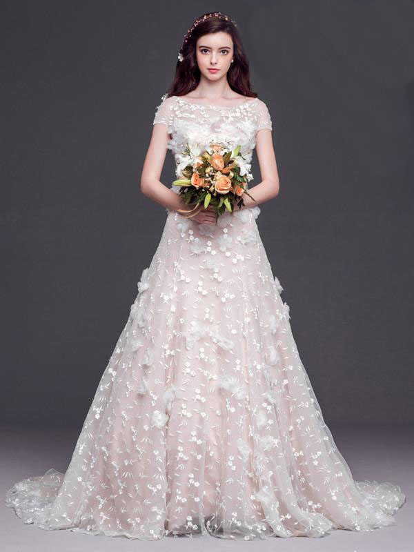 long pretty wedding dress,cute wedding dress,cap sleeves wedding ...