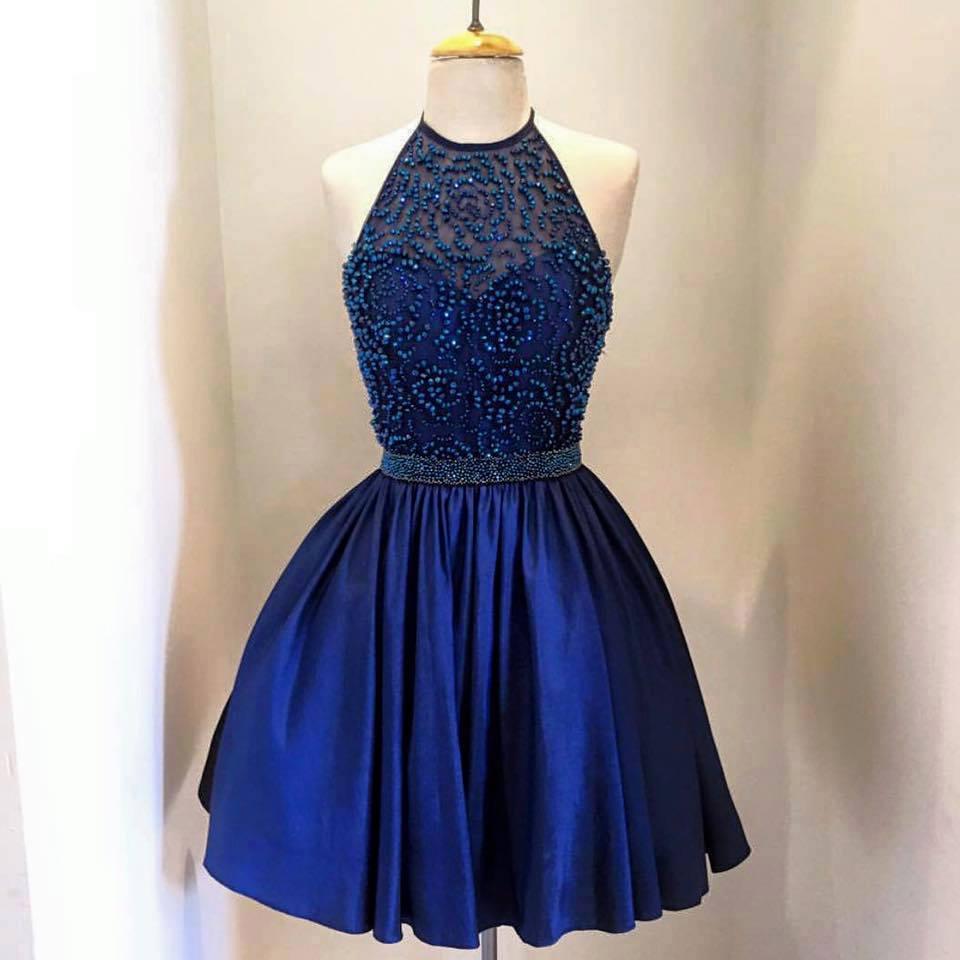 Royal Blue Taffeta with Beaded Bodice Halter Homecoming Dresses Mini ...