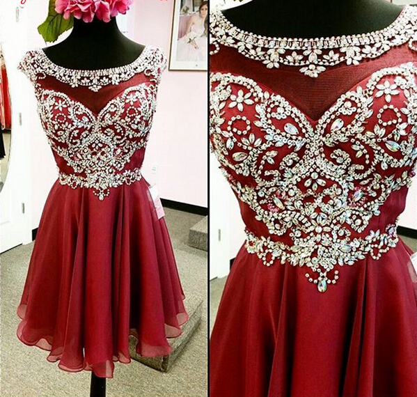 Beaded Red Homecoming Dresses 2017 Homecoming Dress Short