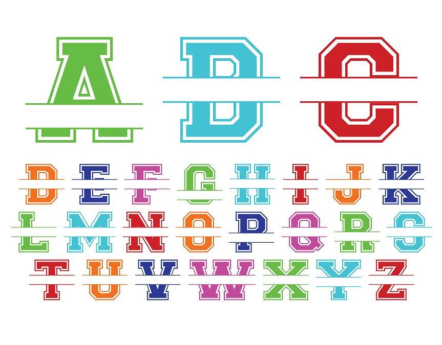 Split chevron letters vinyl name decal sticker personalized split alphabet stickers