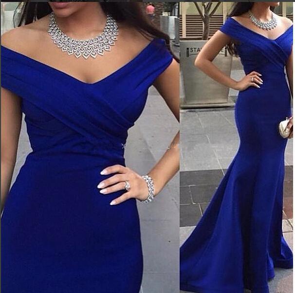 V-neck Floor Length Women Mermaid Royal Blue Long Evening Dress Prom ...