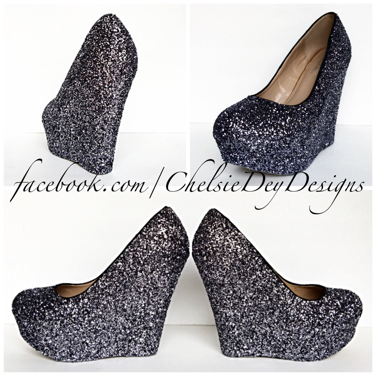 Gunmetal Glitter Wedges - Sparkly Charcoal Dark Grey Gray Platform ... bb545f507