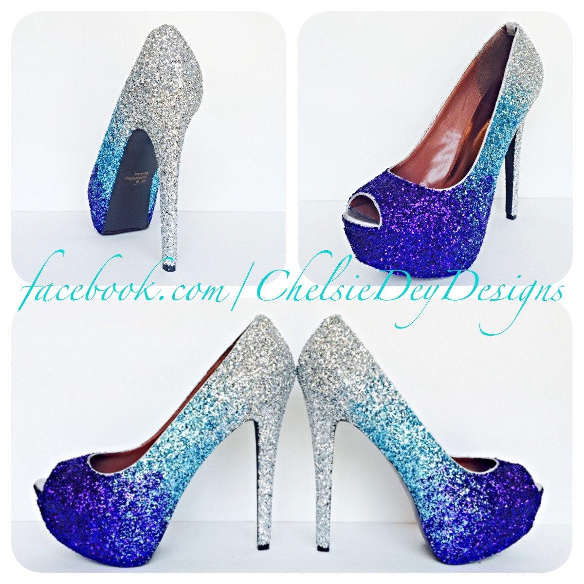 a0f81f67b5 Aqua Ombre Glitter High Heels, Silver Light Blue Purple Peep Toe Pumps,  Eggplant Open