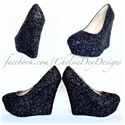 acd360e6361f Black Glitter Wedges - Sparkly High Heel Pump Wedges - Wedding Shoes ...