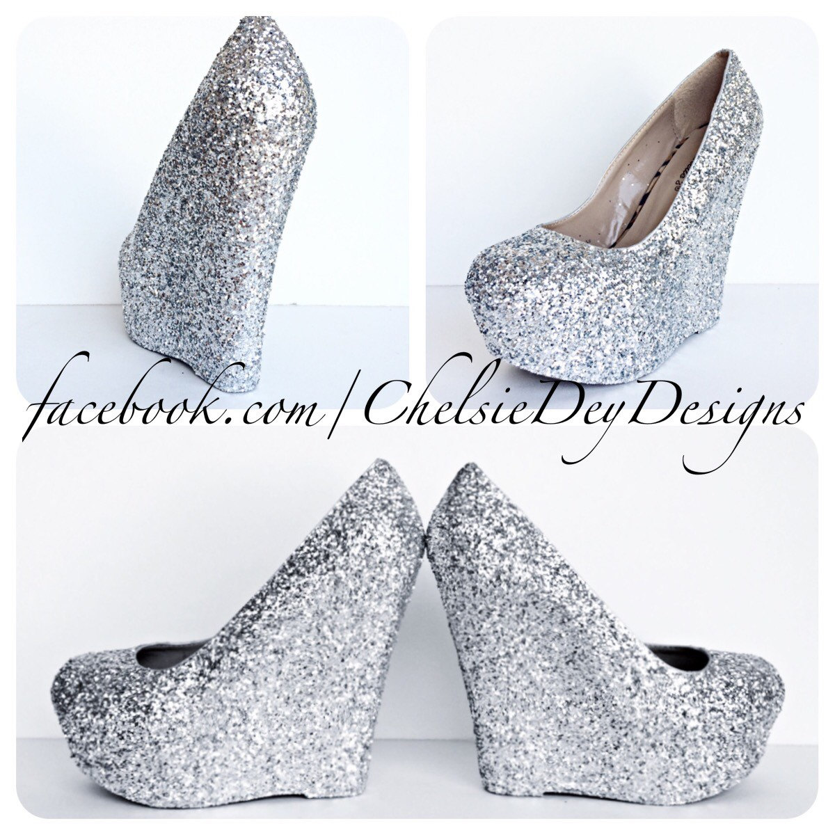 5ed09d9b65d Silver Glitter Wedges - Sparkly Platform Heel - Glitzy Wedding Heels - Prom  Wedges from Chelsie Dey Designs