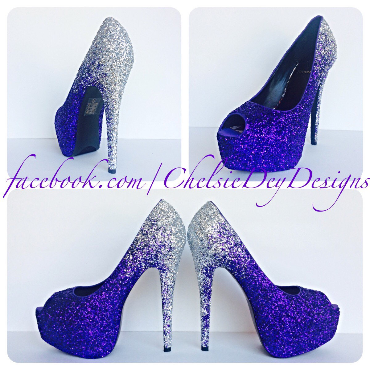87ac1c2e27d Purple Glitter High Heels - Silver Ombre Peep Toe Pumps - Open Toe ...
