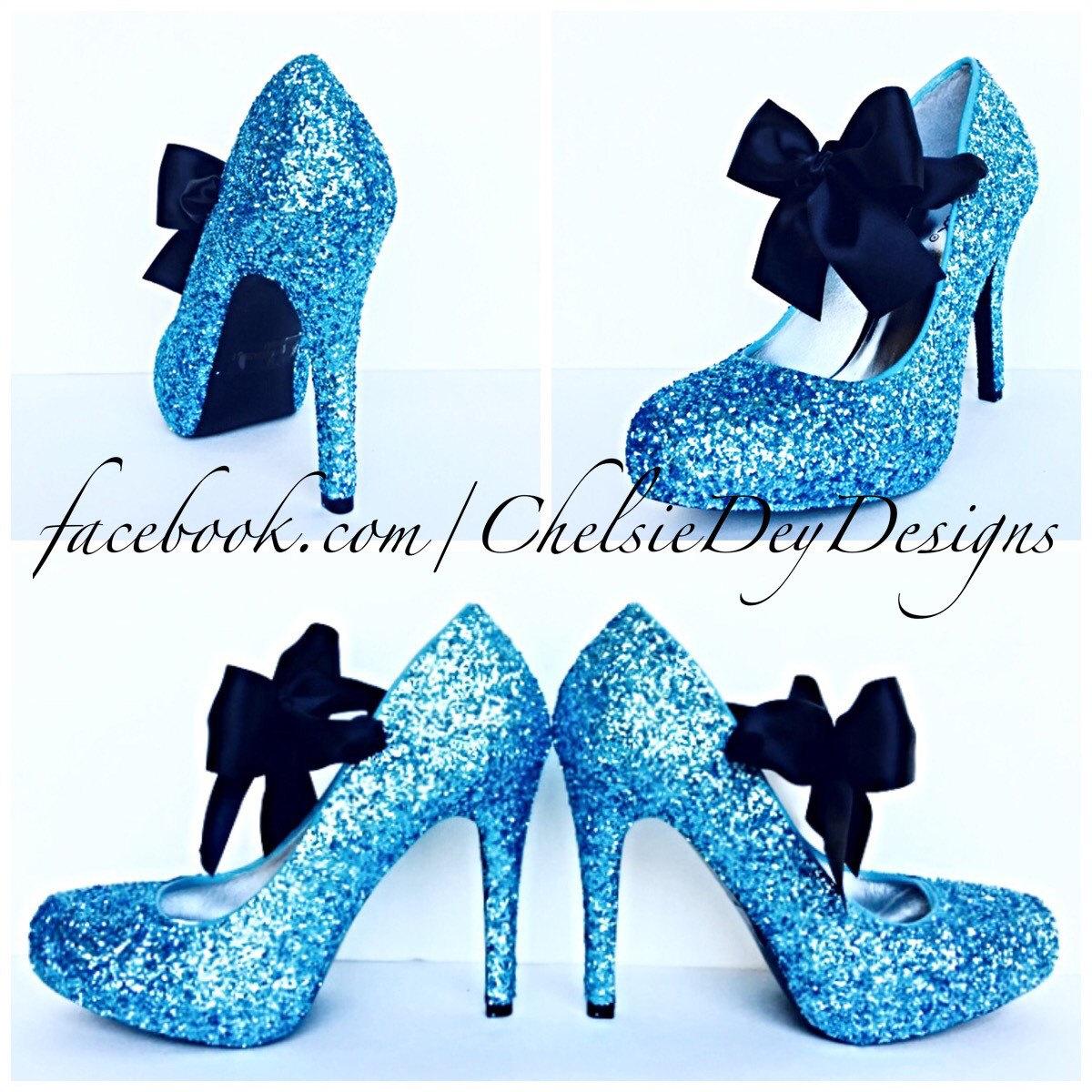 Glitter High Heels - Light Blue Pumps -Aqua Turquoise Ice Calypso - Black  Satin Bows c36dd8d56