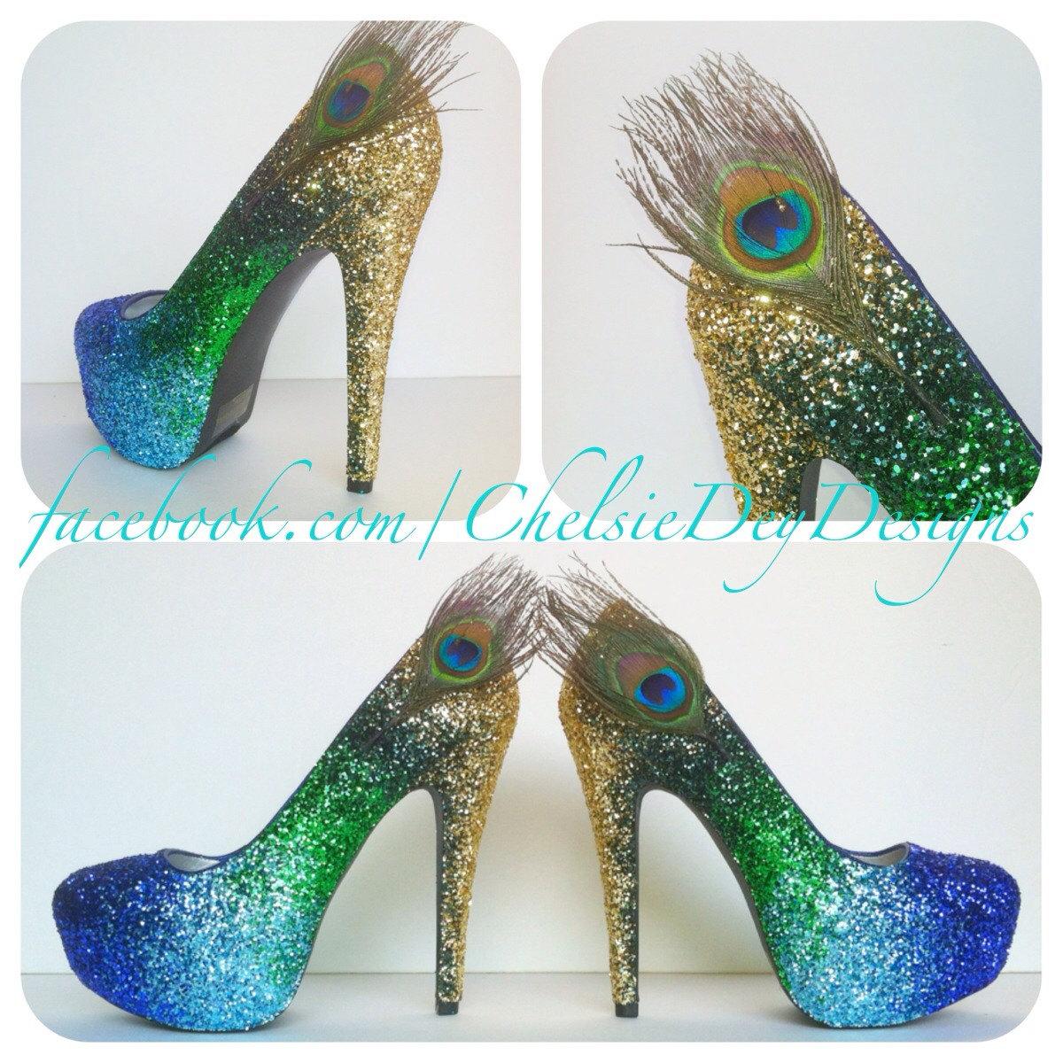 01ed1a2541f2e Peacock Glitter High Heels - Gold Green Royal Blue Light Blue Ombre Pumps -  Peacock Feather Wedding Shoes - Platform Prom Pumps
