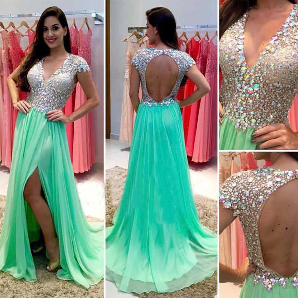 Green Prom Dresses Open Back Prom Dresses Sexy Prom Dresses Prom