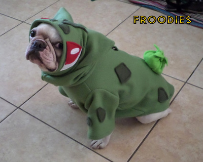 French Bulldog Boston Terrier Pug Dog Froodies Hoodies Halloween Costume Cosplay Pokemon Go Bulbasaur Fleece Jacket Sweatshirt Coat