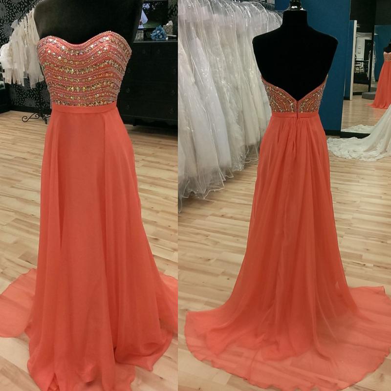 Sweetheart Beaded Long Orange Prom Dresses,Heavy Beaded Prom Dress ...