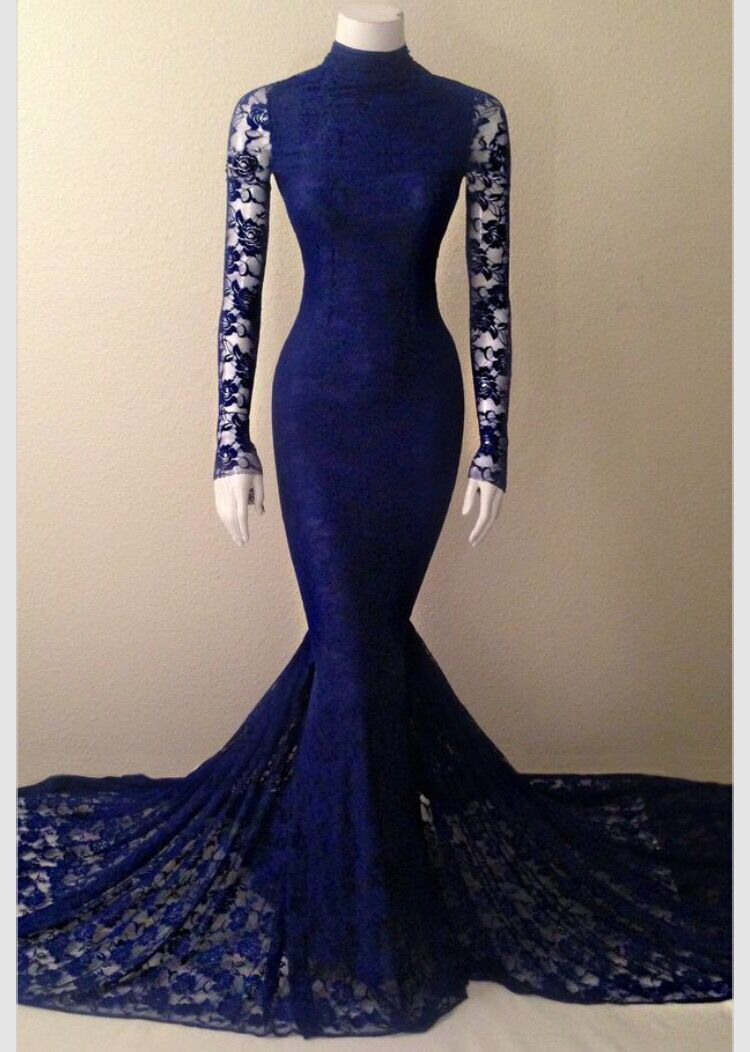 Watch - Blue dark prom dress with sleeves video