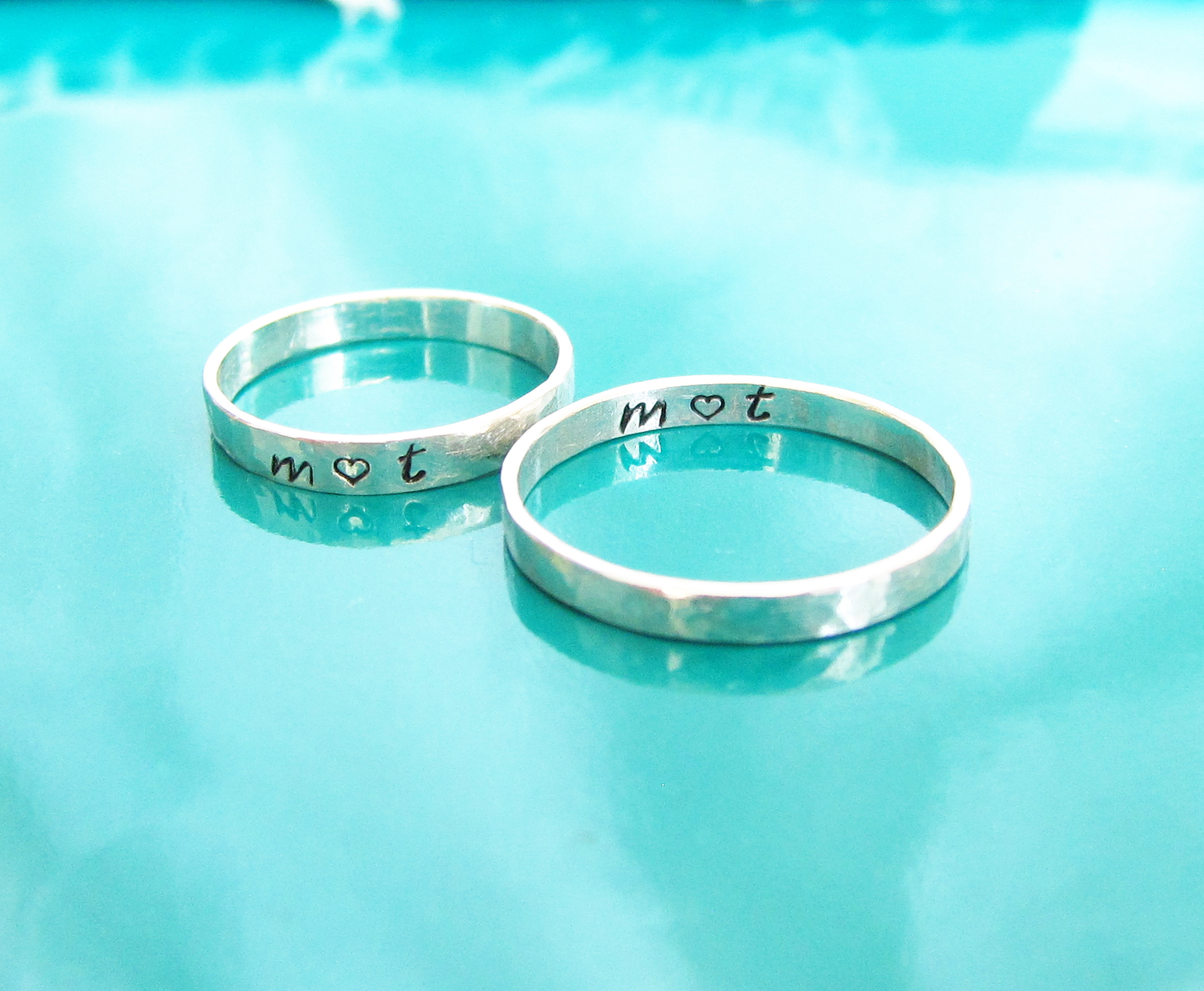 cc4c068306 3mm Sterling Silver Stamped Band Rings, Set of Silver Stamped rings ...