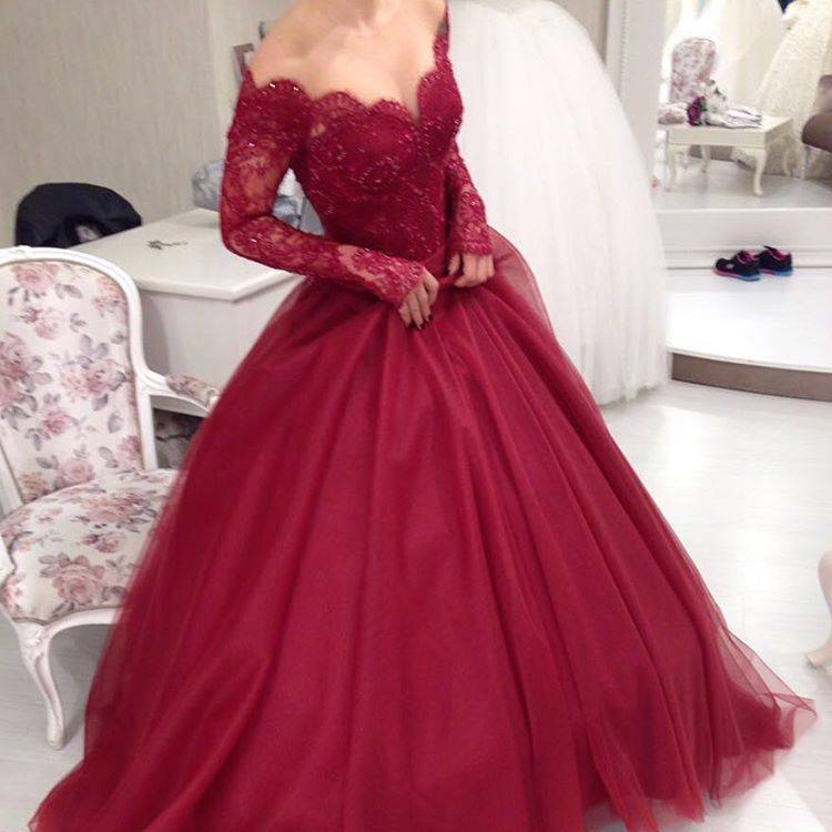 Ball Gown Burgundy Lace Long Prom Dress,Evening Dress ,Charming Prom ...