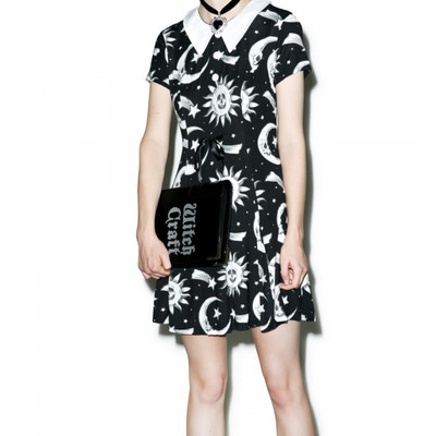 ff530f763e0 Xs s m black gray star skull moon sun face print 90 s pan collar mini  skater dress