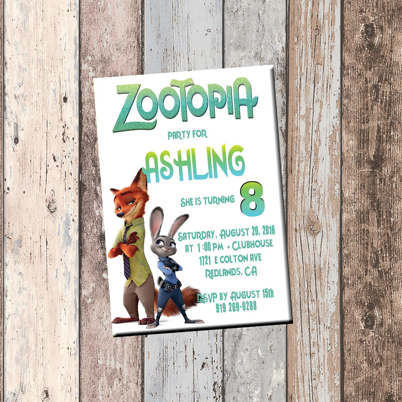 Zootopia personalized birthday invitation 1 sided birthday card zootopia demooriginal stopboris Choice Image