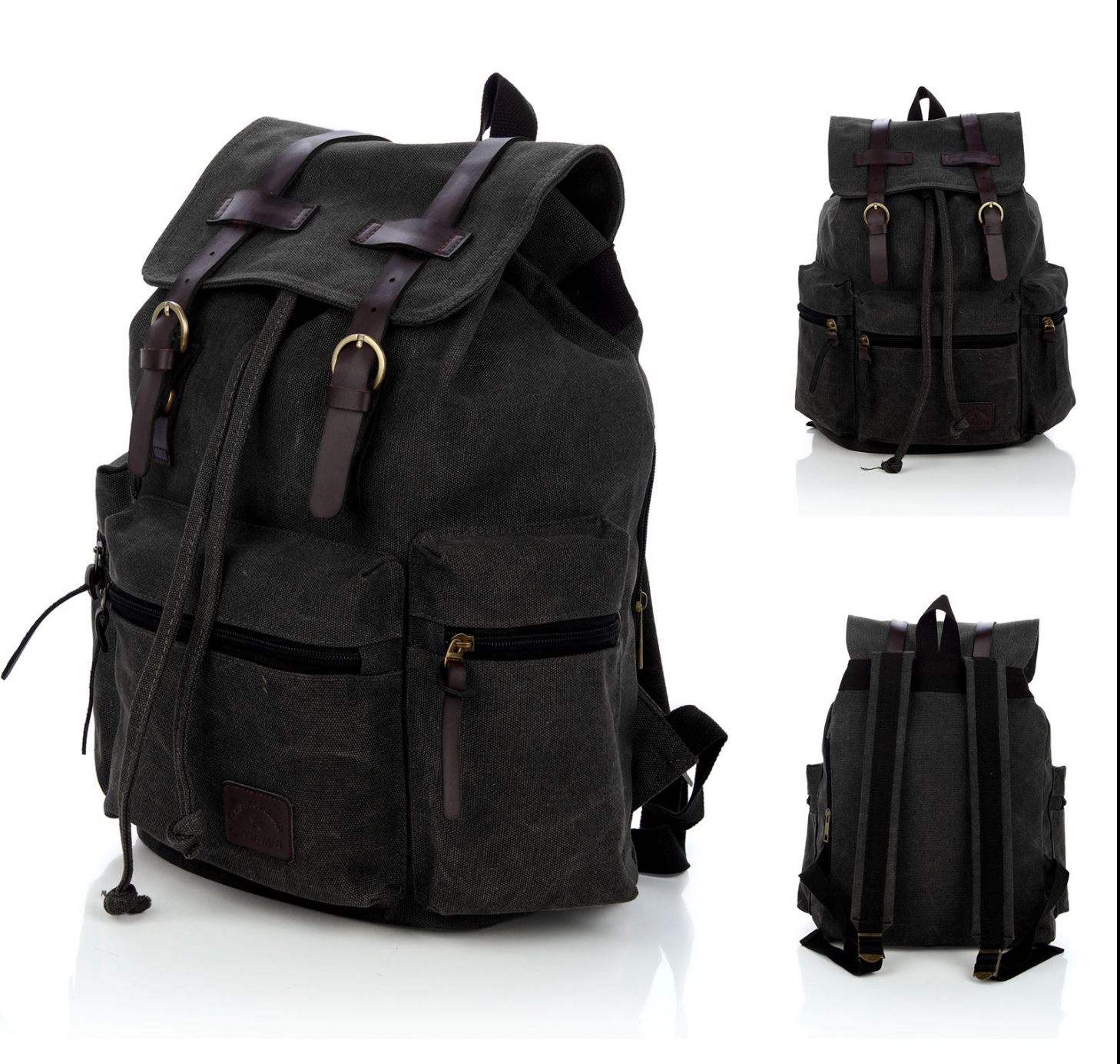 Black Vintage Canvas Backpack Satchel Rucksack Unisex School Travel ... f3cb60cb58370